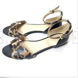 Nine West 7 Sandals Ankle Strap Flats Animal Print